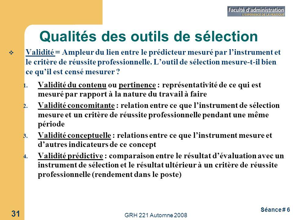 GRH 221 Automne 2008 31 Séance # 6 Qualités des outils de sélection Validité = Ampleur du lien entre le prédicteur mesuré par linstrument et le critèr