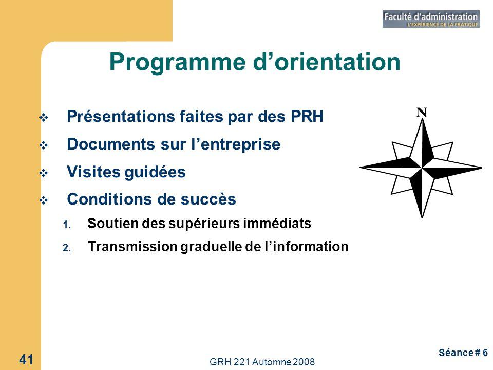 GRH 221 Automne 2008 41 Séance # 6 Programme dorientation Présentations faites par des PRH Documents sur lentreprise Visites guidées Conditions de suc