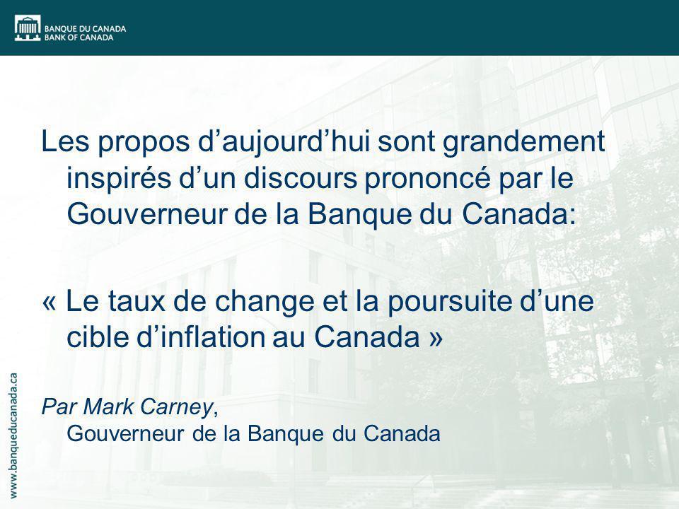 Les propos daujourdhui sont grandement inspirés dun discours prononcé par le Gouverneur de la Banque du Canada: « Le taux de change et la poursuite dune cible dinflation au Canada » Par Mark Carney, Gouverneur de la Banque du Canada