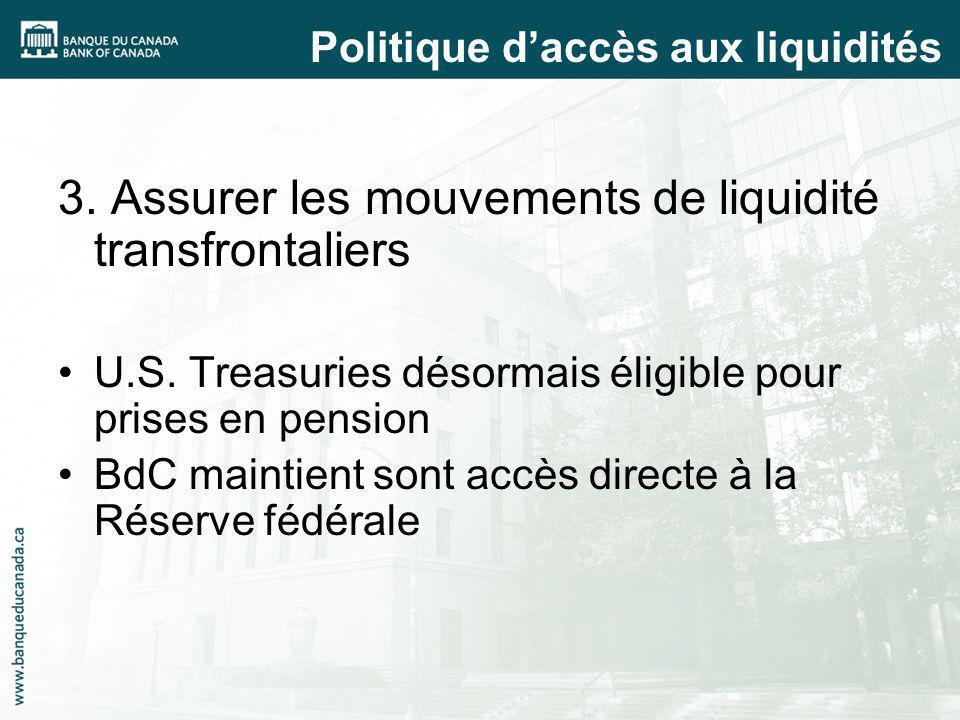 3. Assurer les mouvements de liquidité transfrontaliers U.S. Treasuries désormais éligible pour prises en pension BdC maintient sont accès directe à l