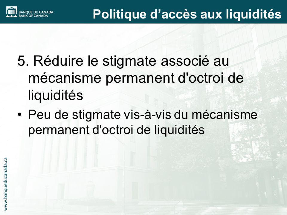 5. Réduire le stigmate associé au mécanisme permanent d'octroi de liquidités Peu de stigmate vis-à-vis du mécanisme permanent d'octroi de liquidités P