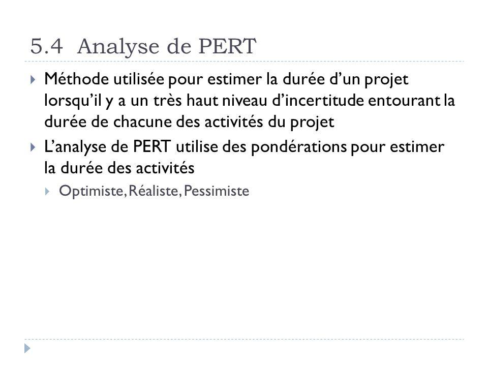 5.4 Analyse de PERT Méthode utilisée pour estimer la durée dun projet lorsquil y a un très haut niveau dincertitude entourant la durée de chacune des activités du projet Lanalyse de PERT utilise des pondérations pour estimer la durée des activités Optimiste, Réaliste, Pessimiste