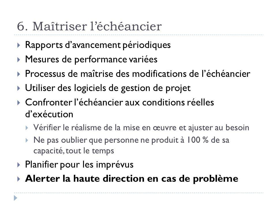6. Maîtriser léchéancier Rapports davancement périodiques Mesures de performance variées Processus de maîtrise des modifications de léchéancier Utilis