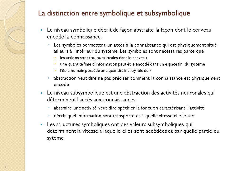 La distinction entre symbolique et subsymbolique Le niveau symbolique décrit de façon abstraite la façon dont le cerveau encode la connaissance. Les s