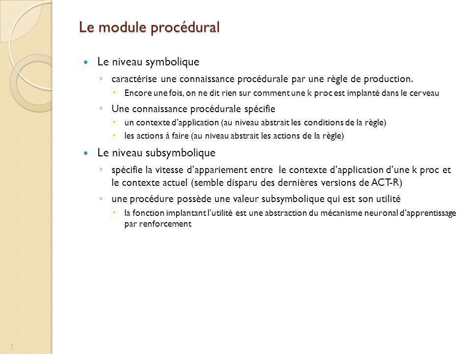 Le module procédural Le niveau symbolique caractérise une connaissance procédurale par une règle de production. Encore une fois, on ne dit rien sur co