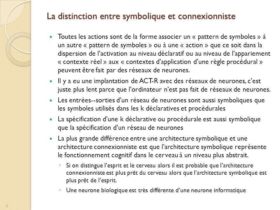 La distinction entre symbolique et connexionniste Toutes les actions sont de la forme associer un « pattern de symboles » à un autre « pattern de symboles » ou à une « action » que ce soit dans la dispersion de lactivation au niveau déclaratif ou au niveau de lappariement « contexte réel » aux « contextes dapplication dune règle procédural » peuvent être fait par des réseaux de neurones.