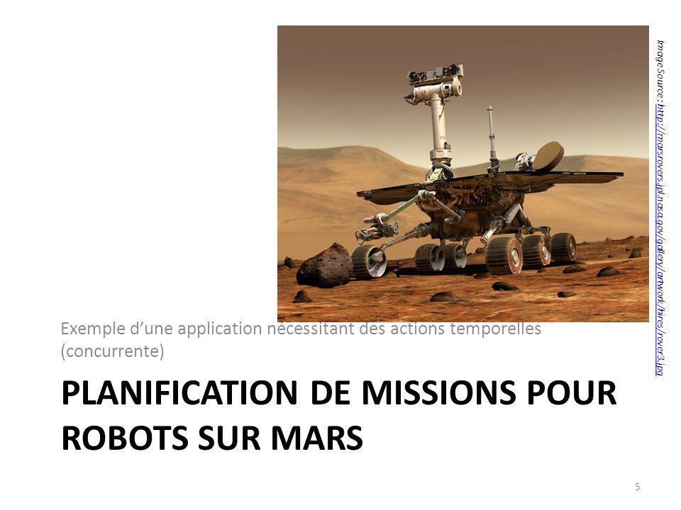 PLANIFICATION DE MISSIONS POUR ROBOTS SUR MARS Exemple dune application nécessitant des actions temporelles (concurrente) 5 Image Source : http://mars