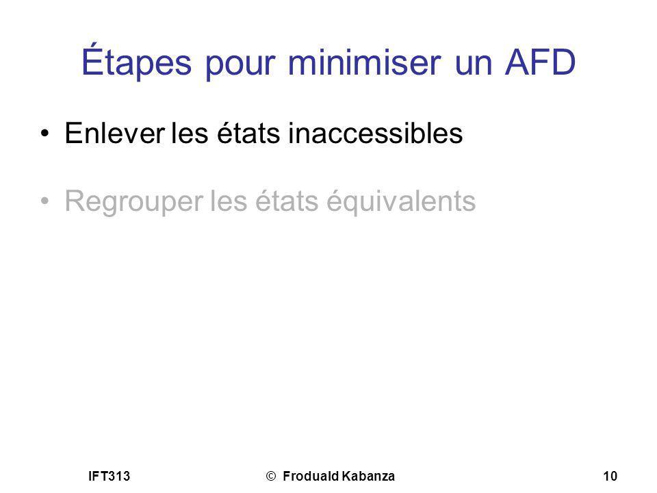 IFT313© Froduald Kabanza10 Étapes pour minimiser un AFD Enlever les états inaccessibles Regrouper les états équivalents