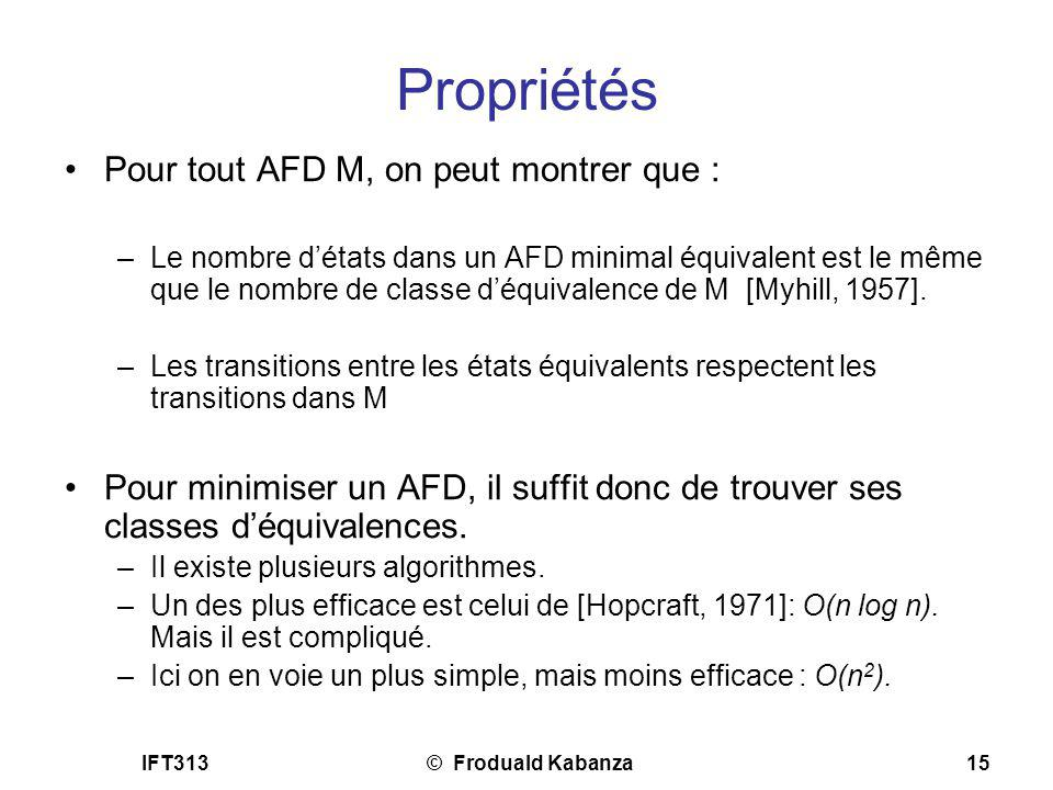 IFT313© Froduald Kabanza15 Propriétés Pour tout AFD M, on peut montrer que : –Le nombre détats dans un AFD minimal équivalent est le même que le nombr
