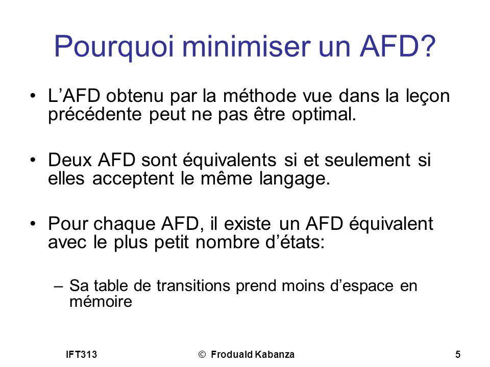 IFT313© Froduald Kabanza5 Pourquoi minimiser un AFD? LAFD obtenu par la méthode vue dans la leçon précédente peut ne pas être optimal. Deux AFD sont é
