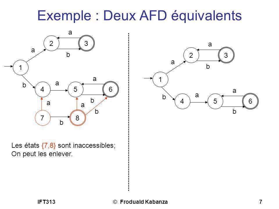 IFT313© Froduald Kabanza7 Exemple : Deux AFD équivalents 1 2 3 a a b 4 b 5 a 6 a b 7 a 8 b a b Les états {7,8} sont inaccessibles; On peut les enlever
