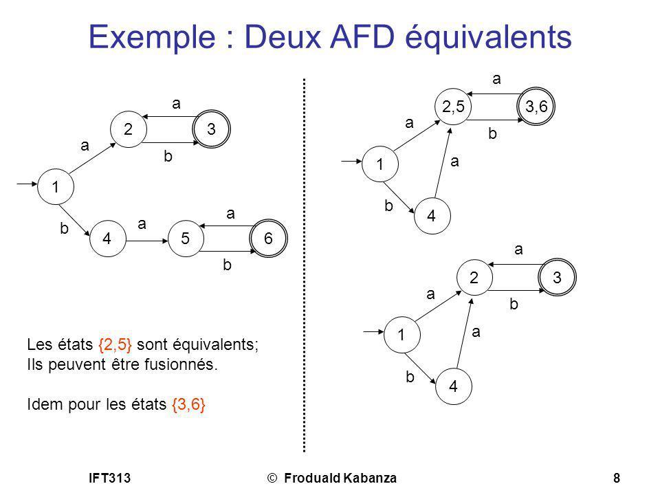 IFT313© Froduald Kabanza8 Exemple : Deux AFD équivalents Les états {2,5} sont équivalents; Ils peuvent être fusionnés. Idem pour les états {3,6} 1 2 3
