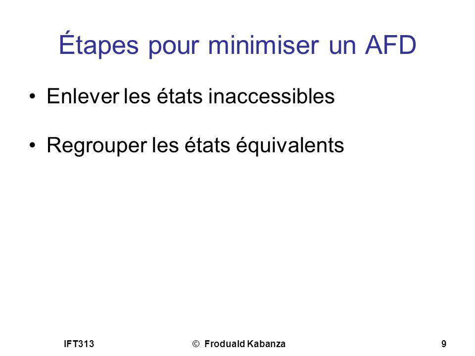 IFT313© Froduald Kabanza9 Étapes pour minimiser un AFD Enlever les états inaccessibles Regrouper les états équivalents