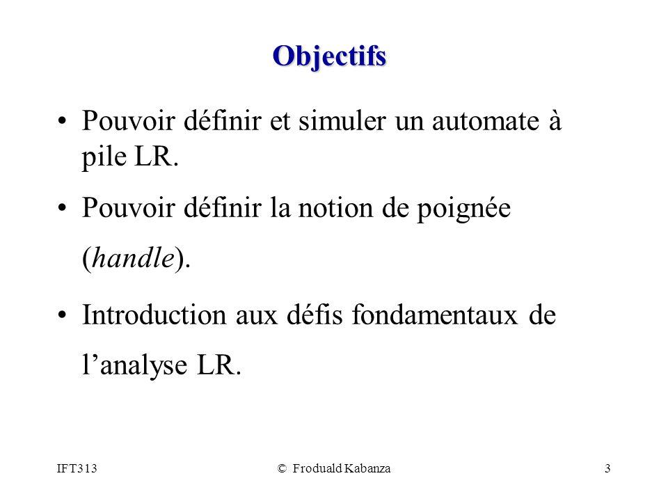 IFT313© Froduald Kabanza3 Objectifs Pouvoir définir et simuler un automate à pile LR. Pouvoir définir la notion de poignée (handle). Introduction aux