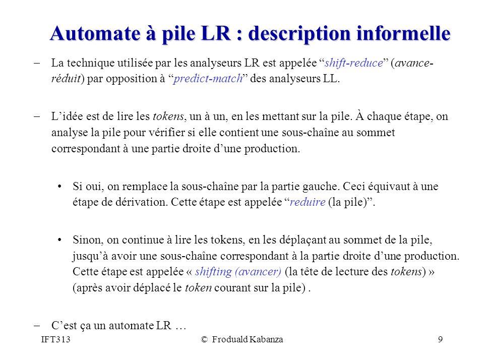 IFT313© Froduald Kabanza9 Automate à pile LR : description informelle La technique utilisée par les analyseurs LR est appelée shift-reduce (avance- réduit) par opposition à predict-match des analyseurs LL.