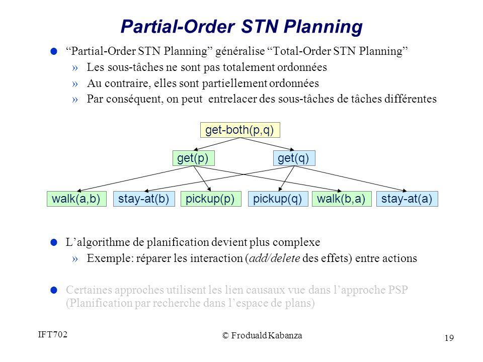 19 Partial-Order STN Planning Partial-Order STN Planning généralise Total-Order STN Planning »Les sous-tâches ne sont pas totalement ordonnées »Au contraire, elles sont partiellement ordonnées »Par conséquent, on peut entrelacer des sous-tâches de tâches différentes Lalgorithme de planification devient plus complexe »Exemple: réparer les interaction (add/delete des effets) entre actions Certaines approches utilisent les lien causaux vue dans lapproche PSP (Planification par recherche dans lespace de plans) walk(a,b)pickup(p) get(p) stay-at(b)pickup(q) get(q) get-both(p,q) walk(b,a)stay-at(a) © Froduald Kabanza IFT702