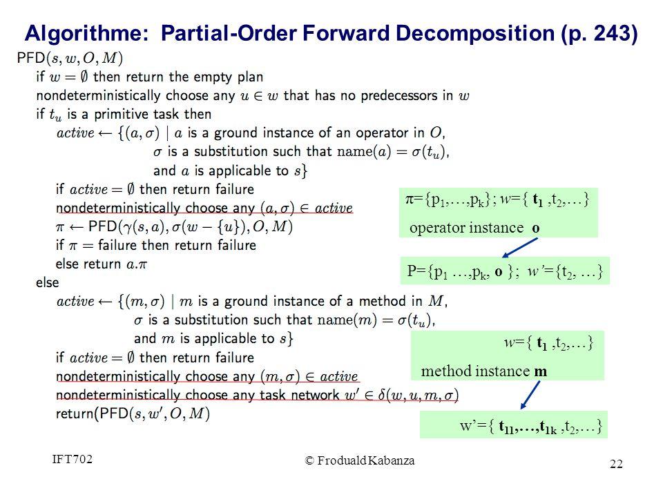 22 P={p 1 …,p k, o }; w={t 2, …} w={ t 1,t 2,…} method instance m w={ t 11,…,t 1k,t 2,…} π={p 1,…,p k }; w={ t 1,t 2,…} operator instance o Algorithme: Partial-Order Forward Decomposition (p.