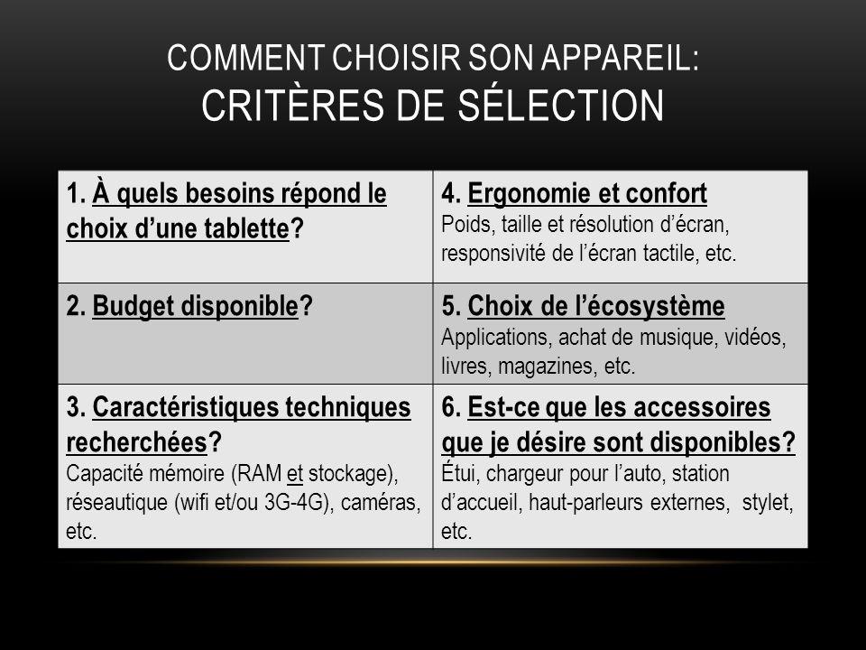 COMMENT CHOISIR SON APPAREIL: CRITÈRES DE SÉLECTION 1. À quels besoins répond le choix dune tablette? 4. Ergonomie et confort Poids, taille et résolut
