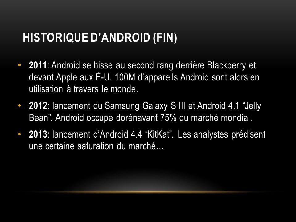 2011 : Android se hisse au second rang derrière Blackberry et devant Apple aux É-U. 100M dappareils Android sont alors en utilisation à travers le mon