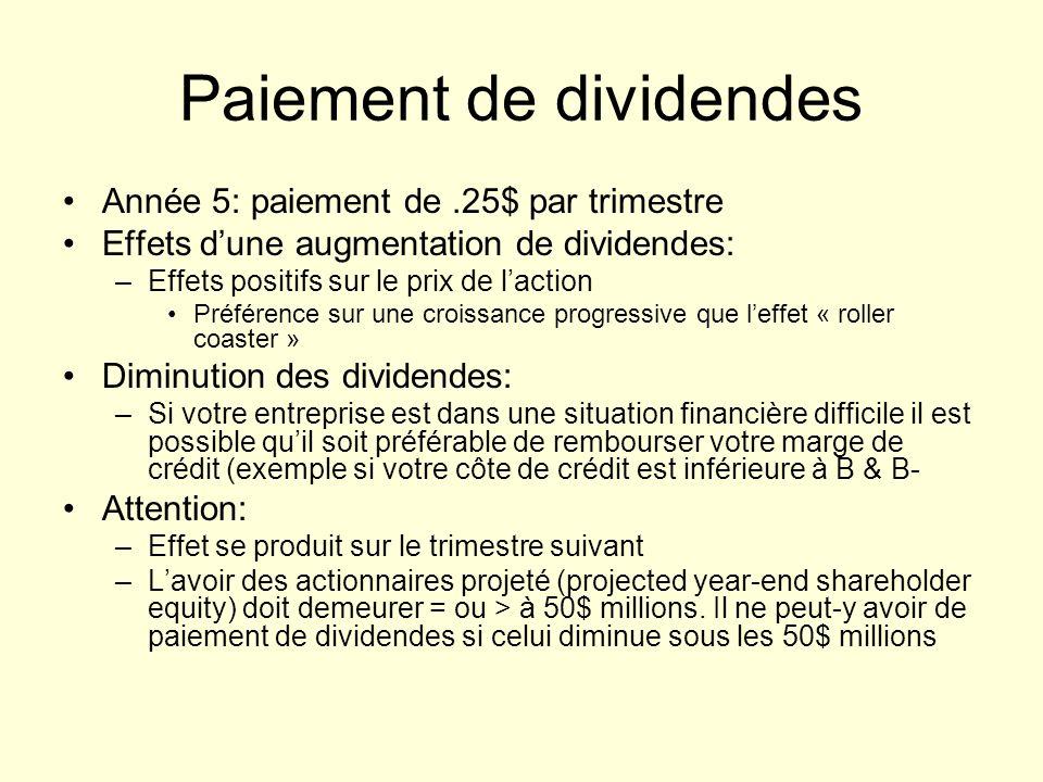 Paiement de dividendes Année 5: paiement de.25$ par trimestre Effets dune augmentation de dividendes: –Effets positifs sur le prix de laction Préféren