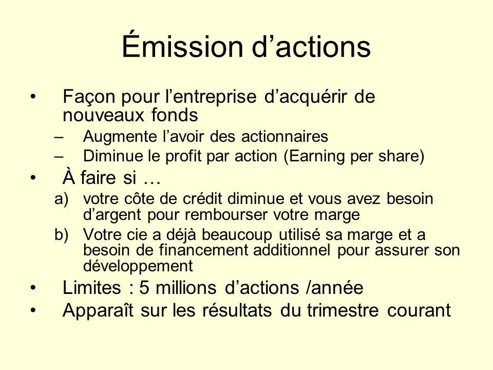Émission dactions Façon pour lentreprise dacquérir de nouveaux fonds –Augmente lavoir des actionnaires –Diminue le profit par action (Earning per shar