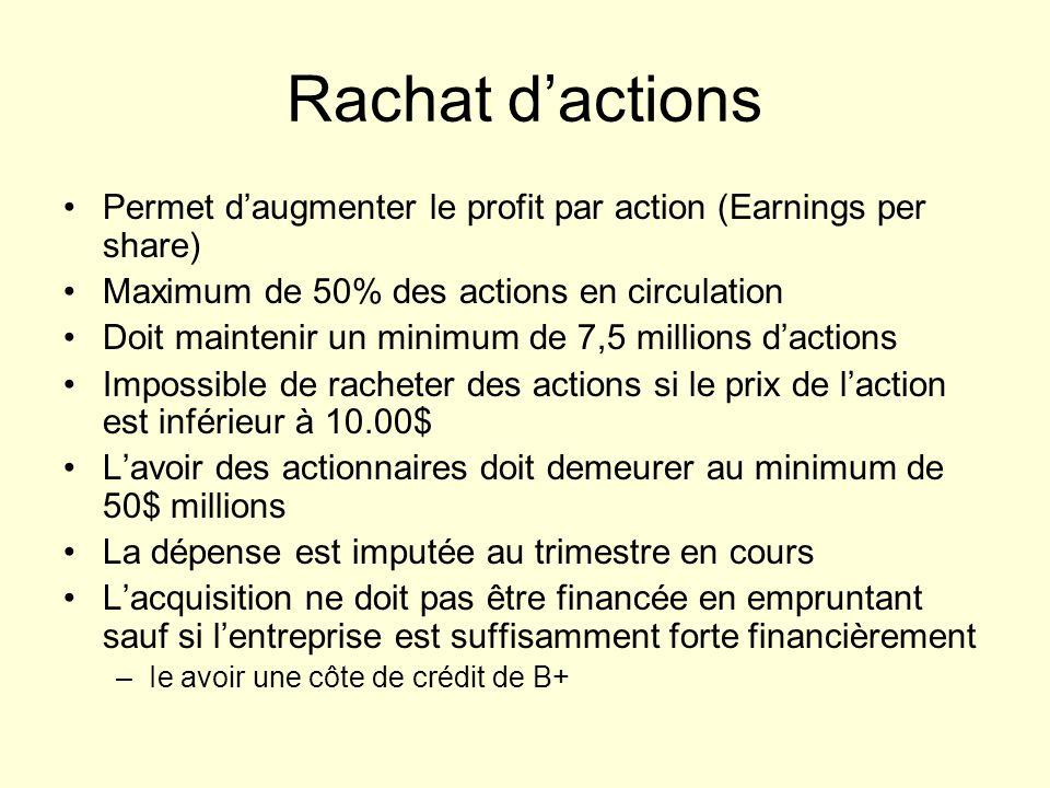 Rachat dactions Permet daugmenter le profit par action (Earnings per share) Maximum de 50% des actions en circulation Doit maintenir un minimum de 7,5