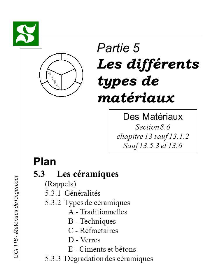 GCI 116 - Matériaux de lingénieur Des Matériaux Section 8.6 chapitre 13 sauf 13.1.2 Sauf 13.5.3 et 13.6 Partie 5 Les différents types de matériaux Pla