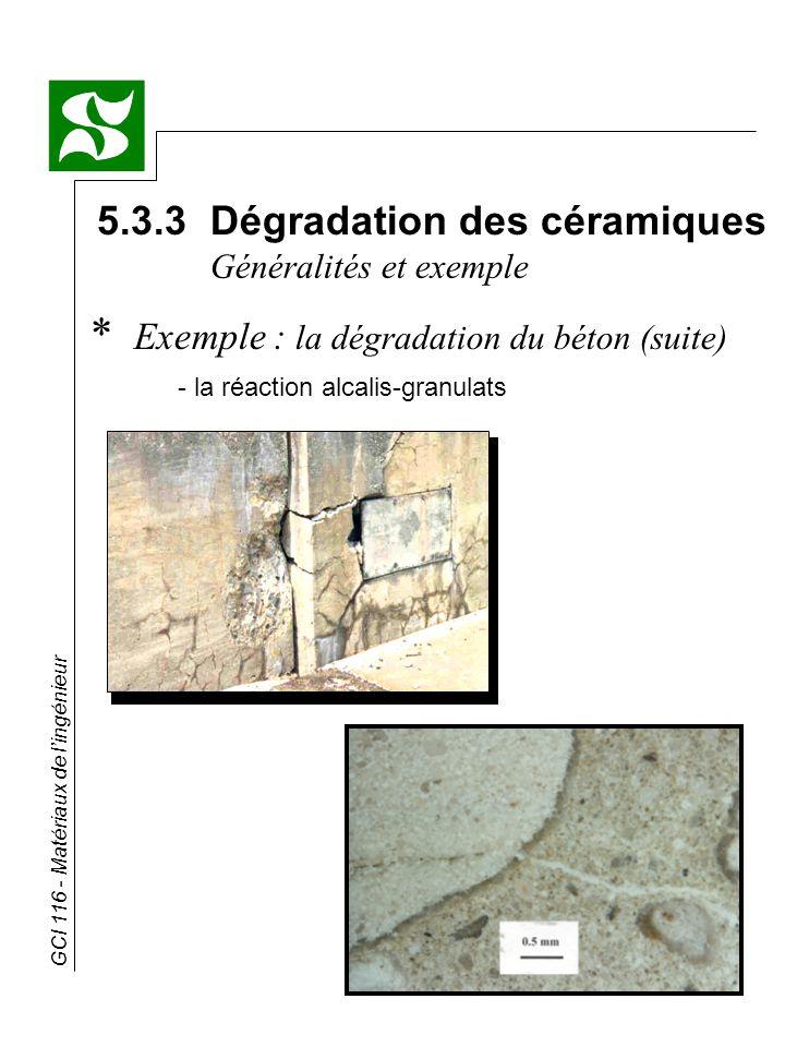 GCI 116 - Matériaux de lingénieur 5.3.3 Dégradation des céramiques Généralités et exemple * Exemple : la dégradation du béton (suite) - la réaction al