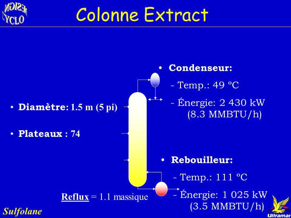Colonne Extract Sulfolane Rôle : - Mettre en contact le Bz et le solvant - Permet lépuration de l écoulement de la boucle de recirculation de la colon