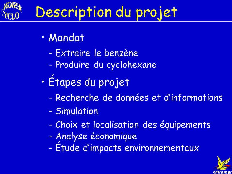 Description du projet - Cyclohexane matière première du nylon - Client potentiel: Dupont Marché pétrochimique Janvier 99 nouvelle norme - Benzène dans