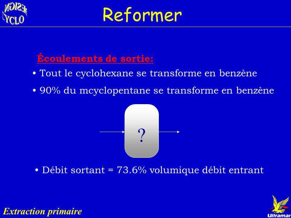 Diamètre : 5.8 m (19 pi) Plateaux : 80 Condenseur: - Temp.: 39 ºC - Énergie: 23 915 kW (81.6 MMBTU/h) Rebouilleur: - Temp.: 82 ºC - Énergie: 17 115 kW