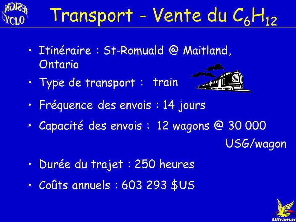 Itinéraire : St-Romuald @ Three Rivers, TX Type de transport : Transport - Vente du Bz bateaux Fréquence des envois : 14 jours Capacité des envois : 1