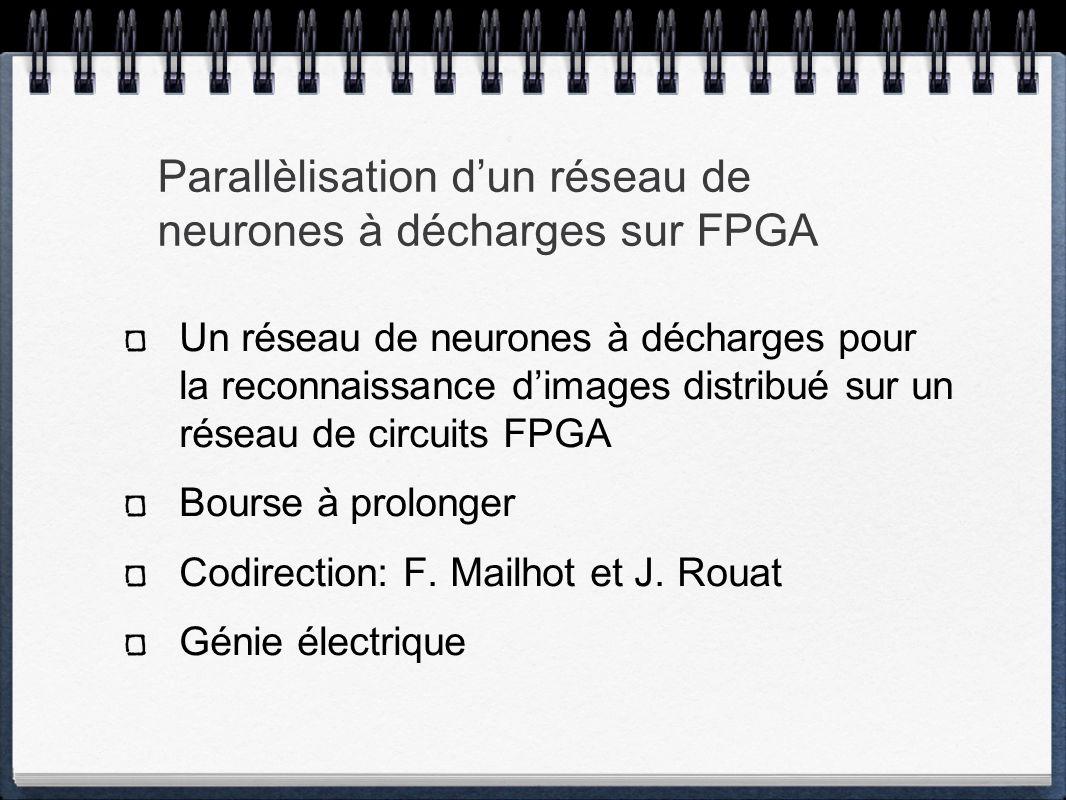 Parallèlisation dun réseau de neurones à décharges sur FPGA Un réseau de neurones à décharges pour la reconnaissance dimages distribué sur un réseau de circuits FPGA Bourse à prolonger Codirection: F.