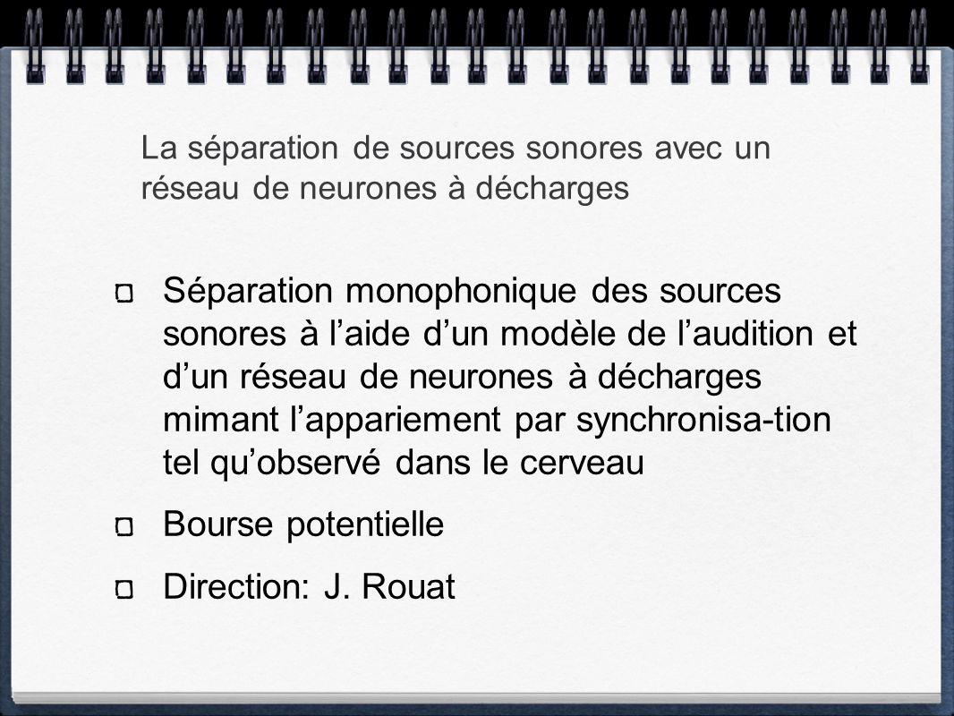 La séparation de sources sonores avec un réseau de neurones à décharges Séparation monophonique des sources sonores à laide dun modèle de laudition et