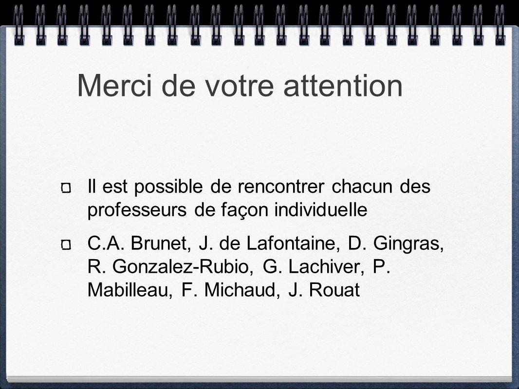 Merci de votre attention Il est possible de rencontrer chacun des professeurs de façon individuelle C.A. Brunet, J. de Lafontaine, D. Gingras, R. Gonz