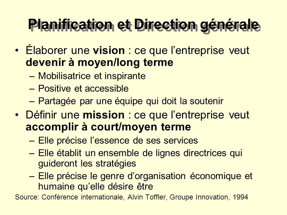 Planification et Direction générale Élaborer une vision : ce que lentreprise veut devenir à moyen/long terme –Mobilisatrice et inspirante –Positive et