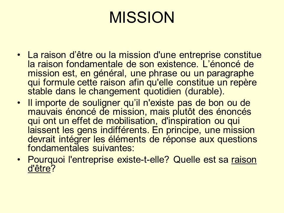 MISSION La raison dêtre ou la mission d'une entreprise constitue la raison fondamentale de son existence. Lénoncé de mission est, en général, une phra
