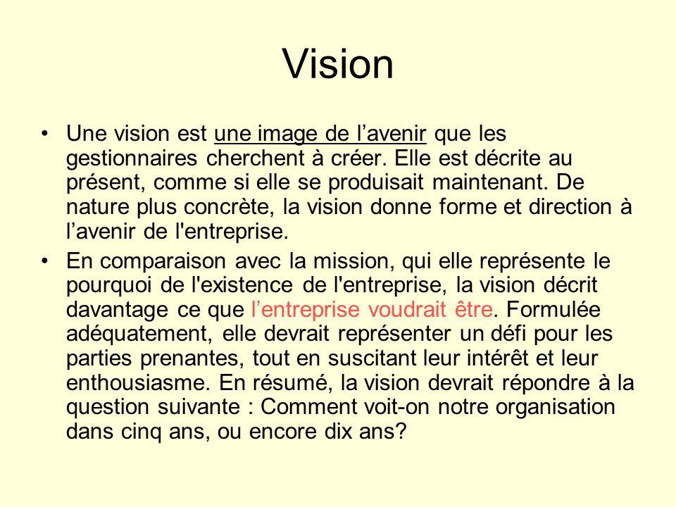 Vision Une vision est une image de lavenir que les gestionnaires cherchent à créer. Elle est décrite au présent, comme si elle se produisait maintenan