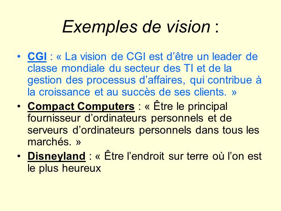 Exemples de vision : CGI : « La vision de CGI est dêtre un leader de classe mondiale du secteur des TI et de la gestion des processus daffaires, qui c