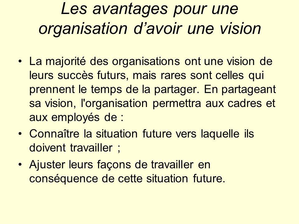 Les avantages pour une organisation davoir une vision La majorité des organisations ont une vision de leurs succès futurs, mais rares sont celles qui