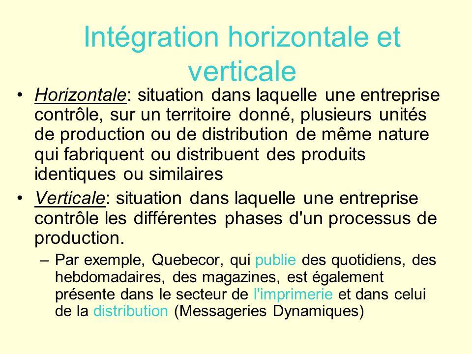 Intégration horizontale et verticale Horizontale: situation dans laquelle une entreprise contrôle, sur un territoire donné, plusieurs unités de produc