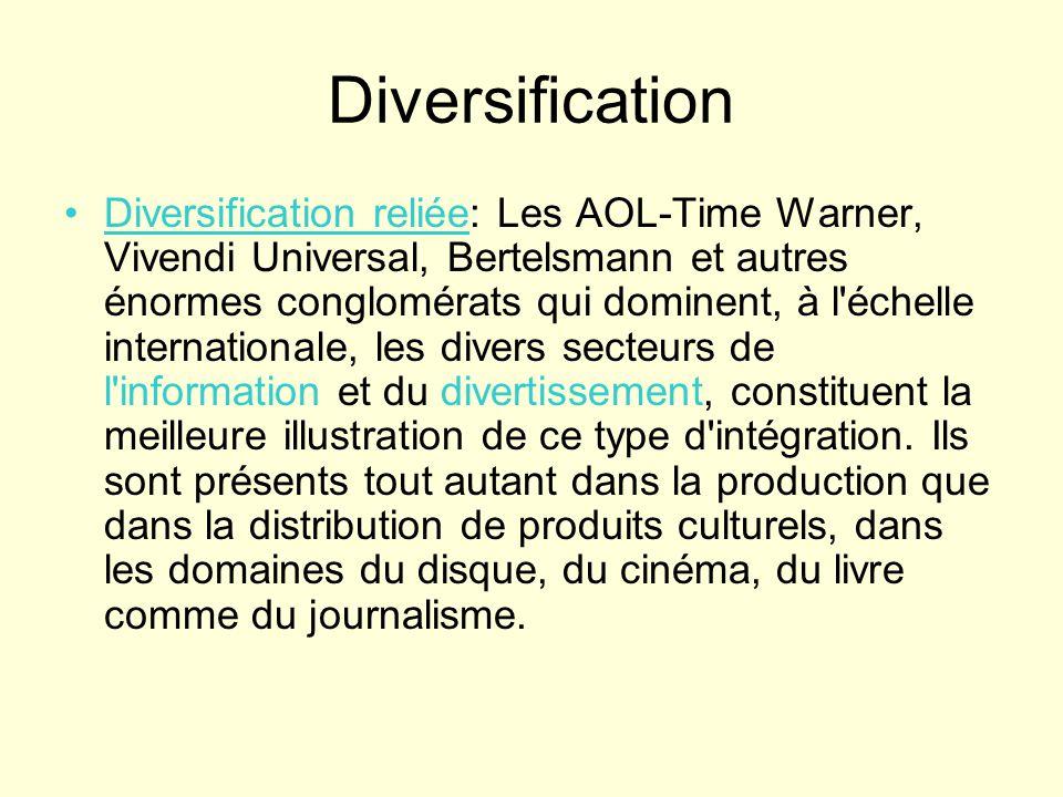 Diversification Diversification reliée: Les AOL-Time Warner, Vivendi Universal, Bertelsmann et autres énormes conglomérats qui dominent, à l'échelle i