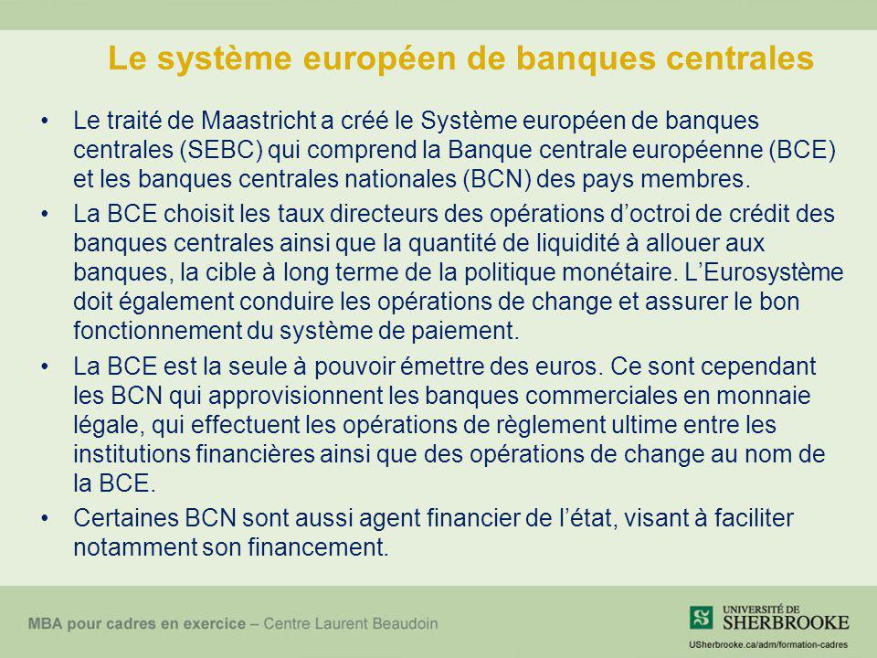 Le système européen de banques centrales Le traité de Maastricht a créé le Système européen de banques centrales (SEBC) qui comprend la Banque central