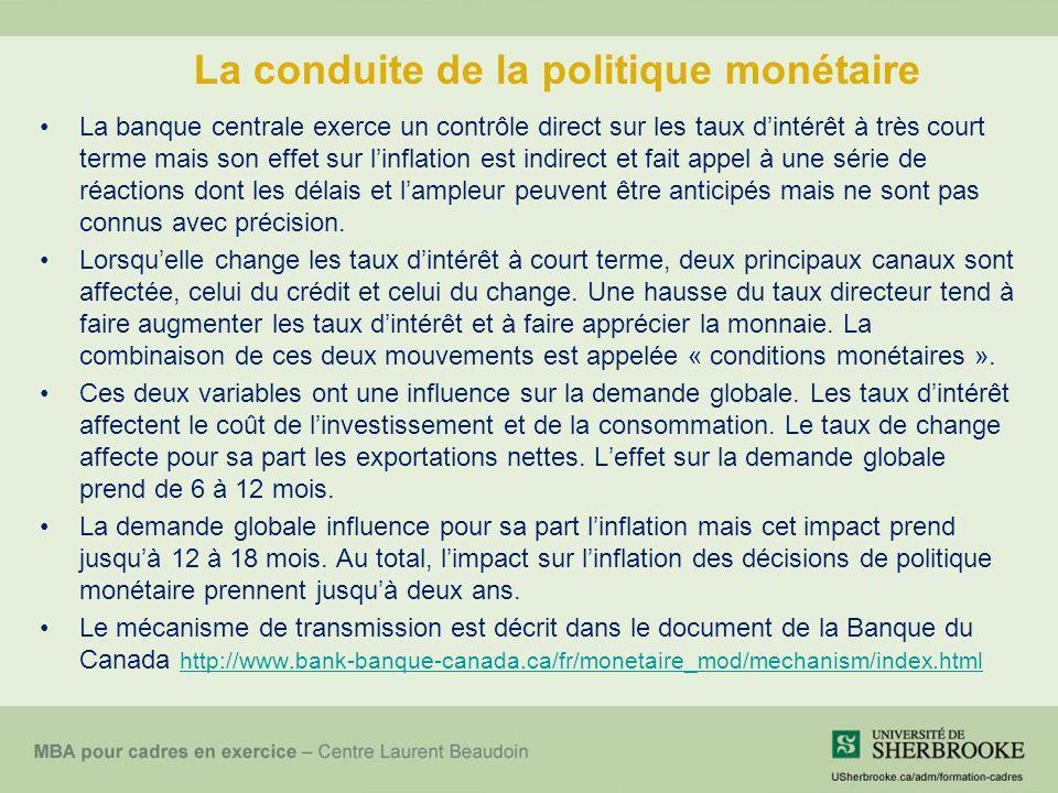 La conduite de la politique monétaire La banque centrale exerce un contrôle direct sur les taux dintérêt à très court terme mais son effet sur linflat
