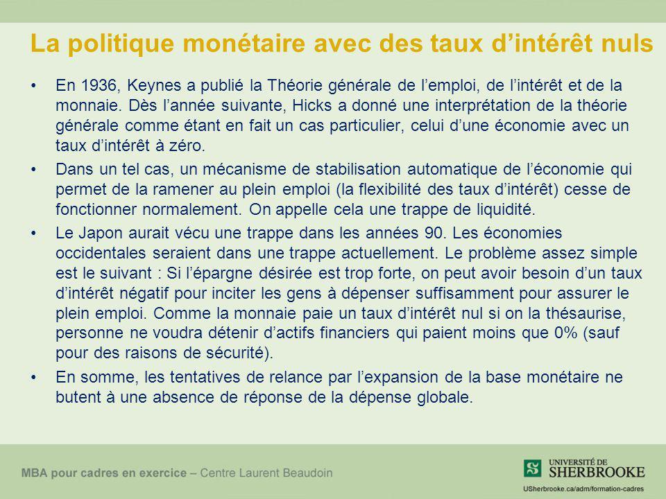 La politique monétaire avec des taux dintérêt nuls En 1936, Keynes a publié la Théorie générale de lemploi, de lintérêt et de la monnaie. Dès lannée s