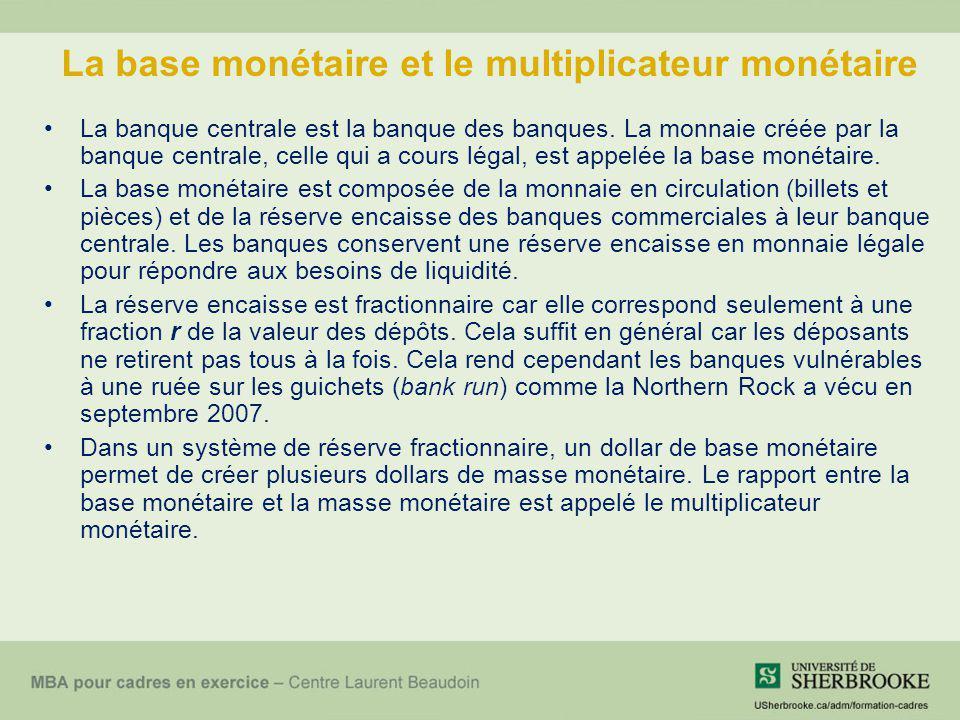 Le multiplicateur monétaire En décembre 2009, la base monétaire sétablissait à 79 milliards de $ alors que M2 brut valait 963 milliards de $.