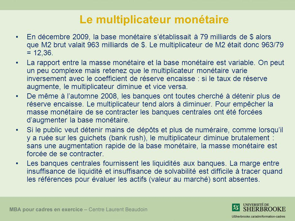 Le multiplicateur monétaire En décembre 2009, la base monétaire sétablissait à 79 milliards de $ alors que M2 brut valait 963 milliards de $. Le multi