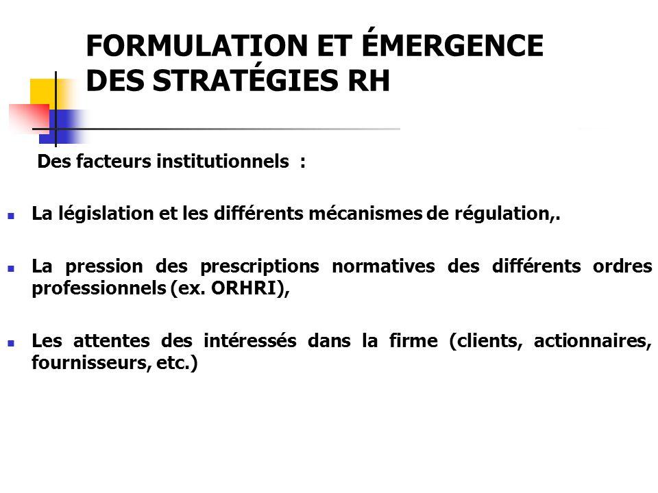 FORMULATION ET ÉMERGENCE DES STRATÉGIES RH Des facteurs institutionnels : La législation et les différents mécanismes de régulation,. La pression des