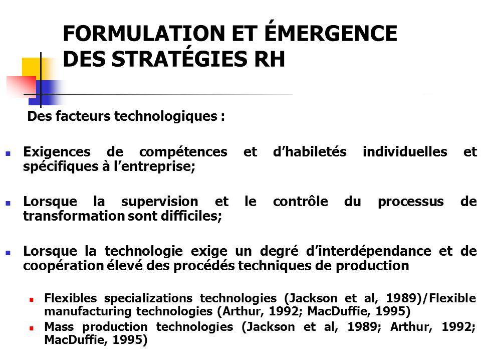 FORMULATION ET ÉMERGENCE DES STRATÉGIES RH Des facteurs technologiques : Exigences de compétences et dhabiletés individuelles et spécifiques à lentrep