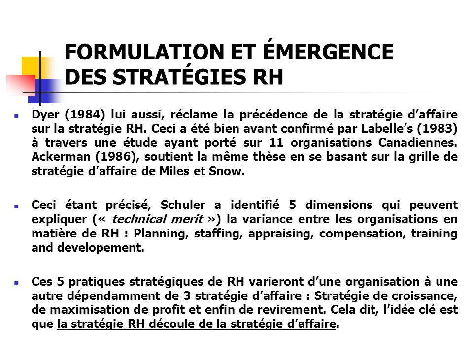 FORMULATION ET ÉMERGENCE DES STRATÉGIES RH Dyer (1984) lui aussi, réclame la précédence de la stratégie daffaire sur la stratégie RH. Ceci a été bien
